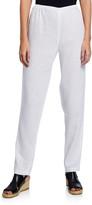 Caroline Rose Tissue Linen Slim-Leg Pants
