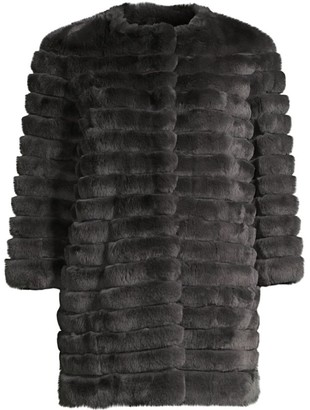 Glamour Puss Rex Rabbit Fur Three-Quarter Sleeve Corded Coat