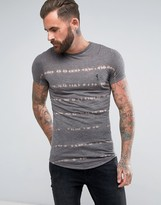 Religion Longline T-shirt With Dye Stripe Print