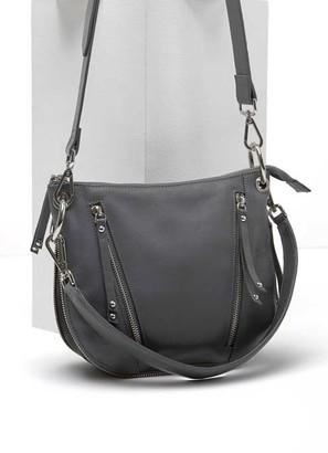 Mint Velvet Claire Grey Leather Zip Bag