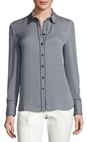 Tory Burch Cherie Printed Silk Button-Front Blouse, New Ivory/Midnight