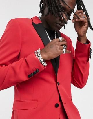 ASOS DESIGN super skinny blazer in red