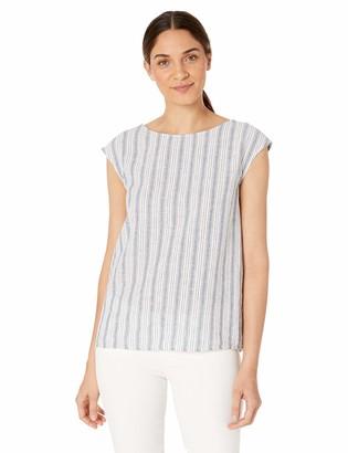 Max Studio Womens Linen Blend Button Back top