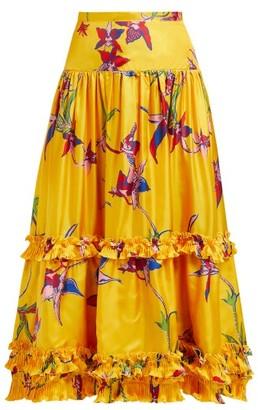 La DoubleJ Salsa Orchidea Giallo High-rise Silk Midi Skirt - Womens - Yellow Print