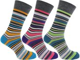 Universal Textiles Mens Stripe Pattern Honeycomb Top Socks (Pack Of 3)
