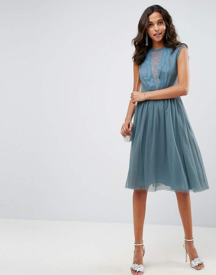 Asos Design Tulle Cap Sleeve Midi Dress in Tonal Lace