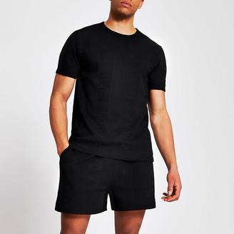 River Island Black textured slim fit T-shirt