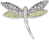 goldia Sterling Silver Yellow & Clear Synthetic Cz Dragonfly Pin