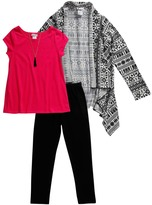 Youngland Pink Tunic Black Leggings & Fair Isle Cardigan - Girls