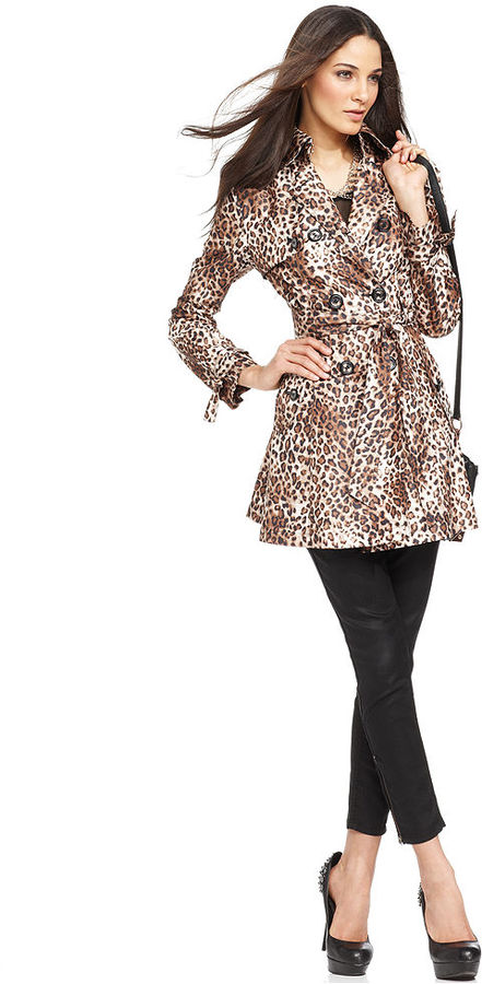 Betsey Johnson Coat, Double-Breasted Animal-Print Trench