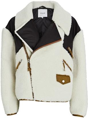 Frame Recycled Fleece Moto Jacket