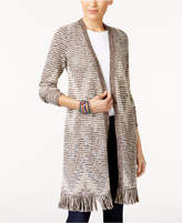 Style&Co. Style & Co Jacquard Fringe Duster Cardigan, Created for Macy's