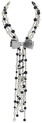 One Kings Lane Vintage Chanel Black & White Bow Necklace - Vintage Lux