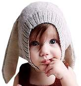 Vivay Baby Knitted Crochet Rabbit Ear Beanie Cap Winter Warm Hat for Baby Kids 0-5 Years