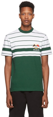 Aimé Leon Dore Green and White Embroidered Stripe T-Shirt