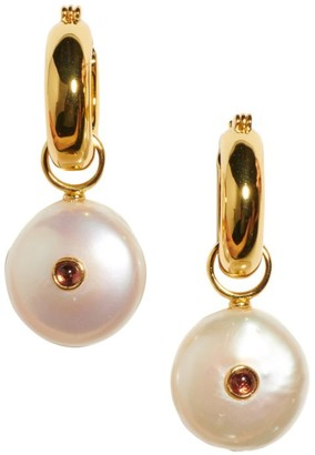 Lizzie Fortunato Circa 18K Goldplated, 15-20MM Pearl & Tourmaline Coin Charm Hoop Earrings