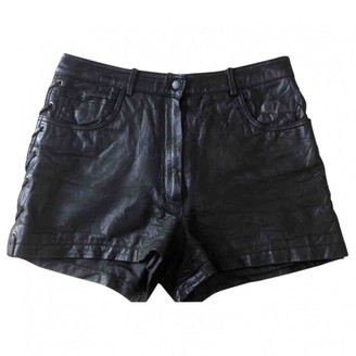 Maje Black Leather Shorts for Women