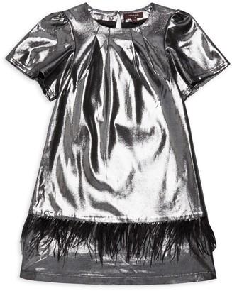Imoga Little Girl's & Girl's Kamryn Faux Feather-Trim Metallic Shift Dress
