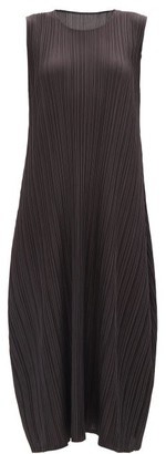 Pleats Please Issey Miyake Round-neck Pleated-jersey Midi Dress - Dark Grey