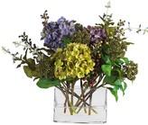 Nearly Natural Mixed Hydrangea Silk Flower Arrangement in Rectangle Glass Vase
