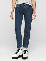 Calvin Klein Womens Straight Fit Blue Stonewash Cropped Jeans