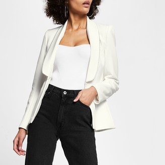 River Island Womens White diamante trim long sleeve blazer