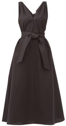 Brunello Cucinelli Shoulder-embellished Belted Poplin Dress - Black