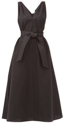 Brunello Cucinelli Shoulder-embellished Belted Poplin Dress - Womens - Black