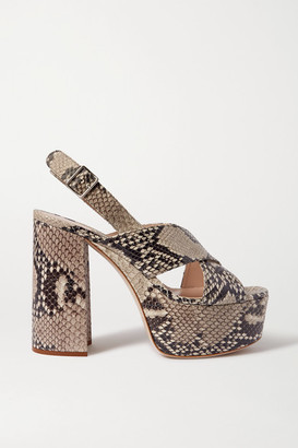 Miu Miu Snake-effect Leather Platform Sandals - Snake print