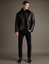 Our Legacy Black Leather Flight Jacket with Shearling Collar