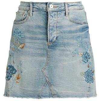 Driftwood Floral Embroidery A-Line Denim Skirt