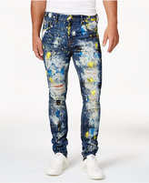 GUESS Men's Paint-Splattered Ripped Utility Fit Stretch Jeans
