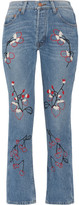 Bliss and Mischief - Sweet Jam Embroidered High-rise Straight-leg Jeans - Mid denim