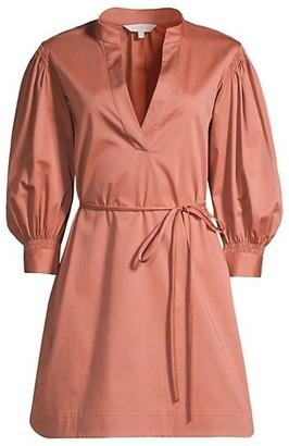 Rebecca Taylor Sateen Twill Puff-Sleeve Mini Dress