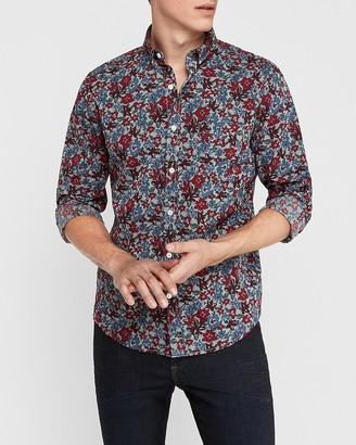Express Slim Floral Chambray Shirt