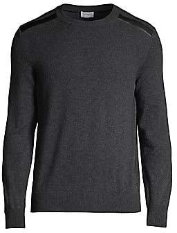 Salvatore Ferragamo Men's Leather-Shoulder Crewneck Sweater