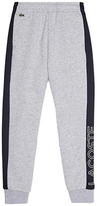 Lacoste Kids Lacoste Wording On Leg Track Trousers (Little Kids/Big Kids) (Silver Chine/Abysm/White) Boy's Casual Pants
