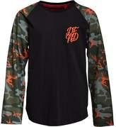 DFND London Boys Popper Contrast Sleeve Long Sleeve T-Shirt Black