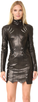 Thierry Mugler Long Sleeve Leather Dress