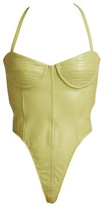 LaQuan Smith Leather Halter Bodysuit