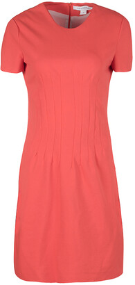 Diane von Furstenberg Atomic Orange Fitted Short Sleeve Yazmine Dress S