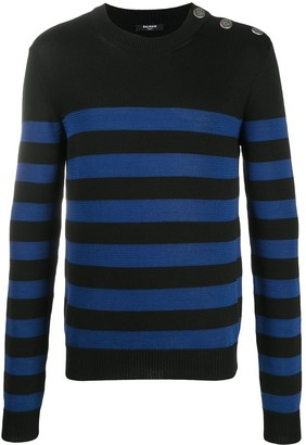 Balmain Embossed Buttons Striped Jumper