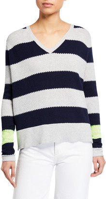 LISA TODD Stripe Hype Lyte V-Neck Cotton Sweater
