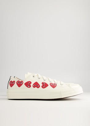 Comme des Garcons Women's Play Converse Low Multi Heart Sneaker in Off White, Size 8 | Textile/Canvas