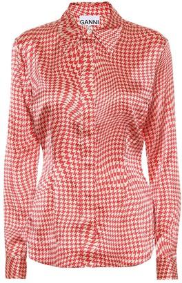 Ganni Houndstooth stretch-silk satin shirt