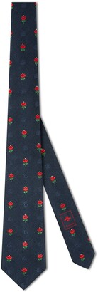 Gucci Silk tie flowers and Double G