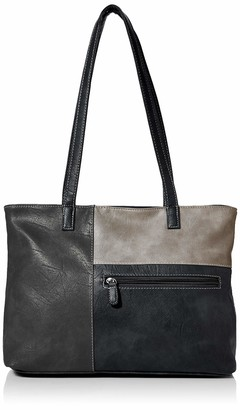 N.V. Bags Womens Katie Shoulder Bag Black (Black) 12x24x26 cm (W x H x L)