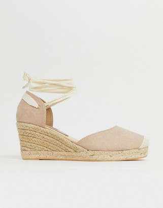 London Rebel espadrille wedges with ankle tie in beige
