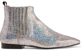 Joseph Glittered Leather Chelsea Boots - Silver