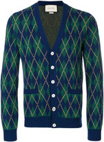 Gucci argyle intarsia cardigan - men - Cashmere/Wool - S